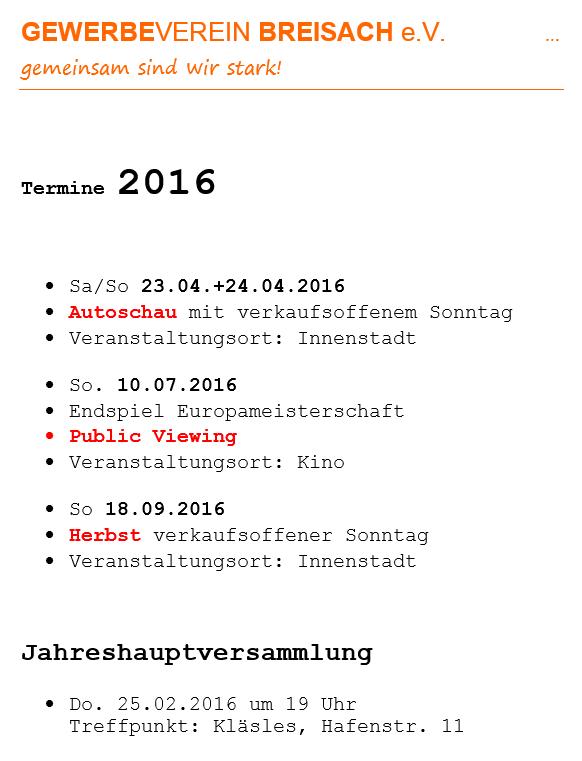 Gewerbeverein Breisach Veranstaltungen Termine